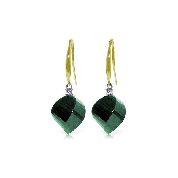 Genuine 30.6 ctw Green Sapphire Corundum & Diamond Earrings 14KT Yellow Gold - REF-51K9V