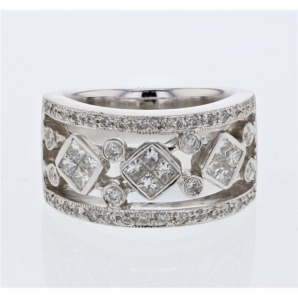 Natural 1.12 CTW Princess Diamond Ring 18K White Gold - REF-240F3M