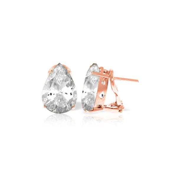 Genuine 10 ctw White Topaz Earrings 14KT Rose Gold - REF-50N7R