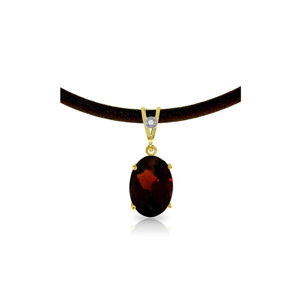 Genuine 7.56 ctw Garnet & Diamond Necklace 14KT Yellow Gold - REF-53F8Z