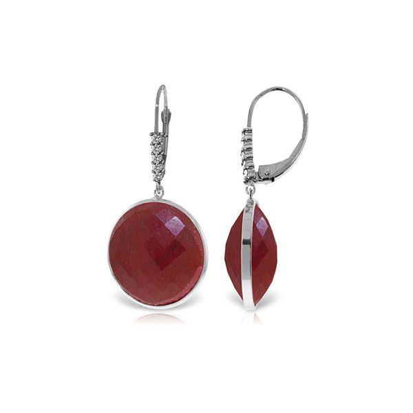 Genuine 46.15 ctw Ruby & Diamond Earrings 14KT White Gold - REF-78R3P