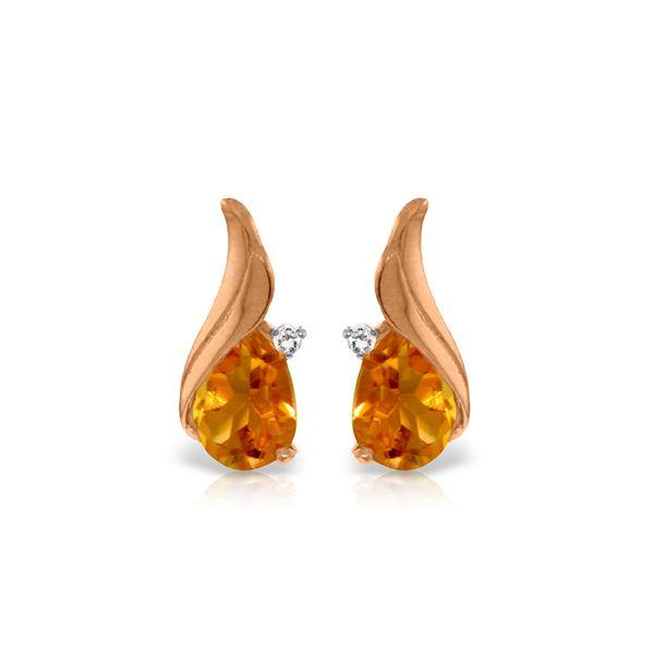Genuine 3.26 ctw Citrine & Diamond Earrings 14KT Rose Gold - REF-52H7X