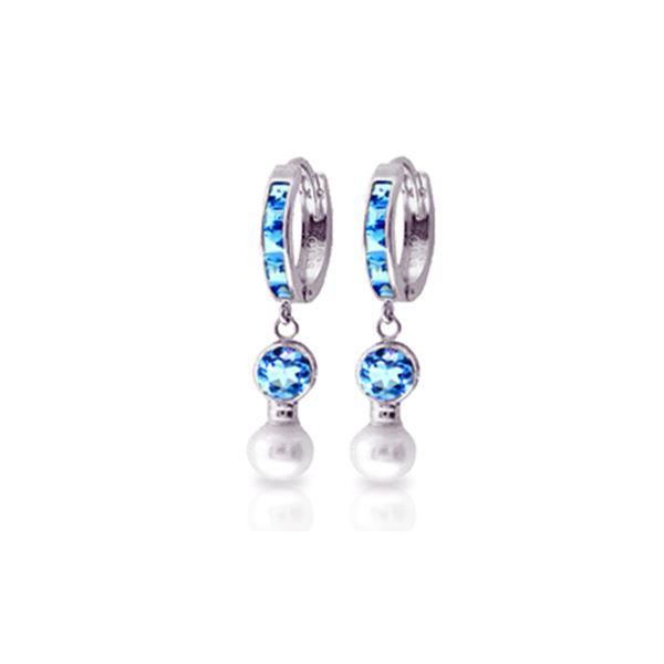 Genuine 4.3 ctw Blue Topaz & Pearl Earrings 14KT White Gold - REF-48N3R