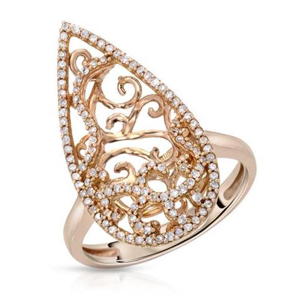 Natural 0.41 CTW Diamond Ring 14K Rose Gold - REF-61T2X