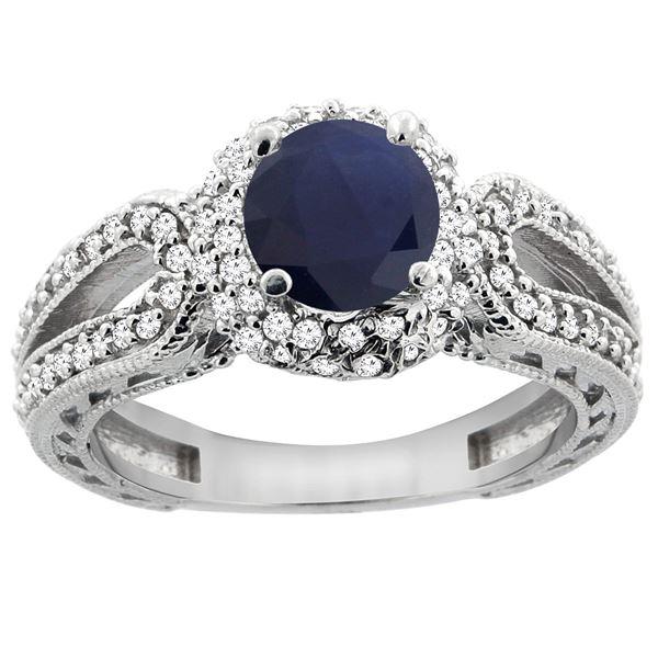 1.55 CTW Blue Sapphire & Diamond Ring 14K White Gold - REF-118A3X