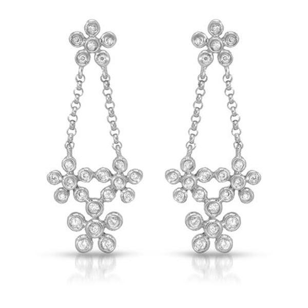 Natural 0.18 CTW Diamond Earrings 14K White Gold - REF-35F3M
