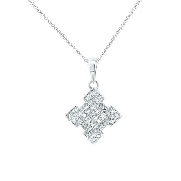 Natural 0.37 CTW Princess Diamond Necklace 14K White Gold - REF-68T4X