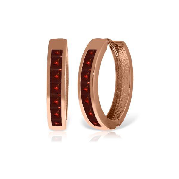 Genuine 1.85 ctw Garnet Earrings 14KT Rose Gold - REF-57W6Y