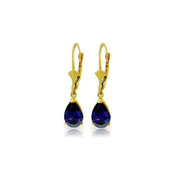 Genuine 3 ctw Sapphire Earrings 14KT Yellow Gold - REF-36M9T