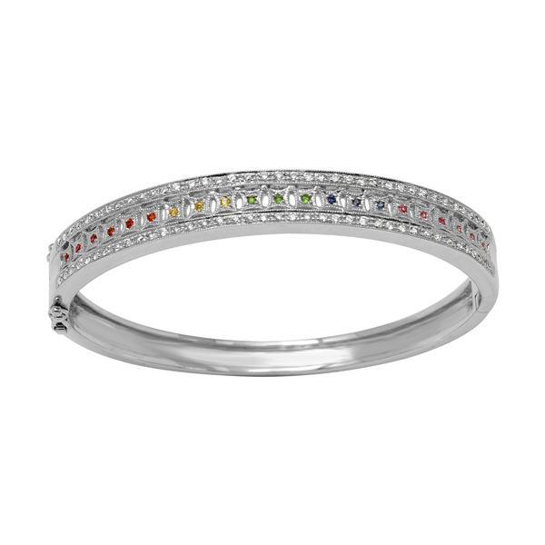 Natural 0.92 CTW Multi-Sapphire & Diamond Bracelet 14K White Gold - REF-207W9H