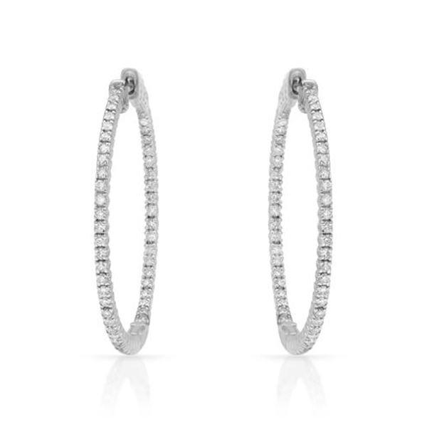 Natural 0.97 CTW Diamond Earrings 14K White Gold - REF-154F8M