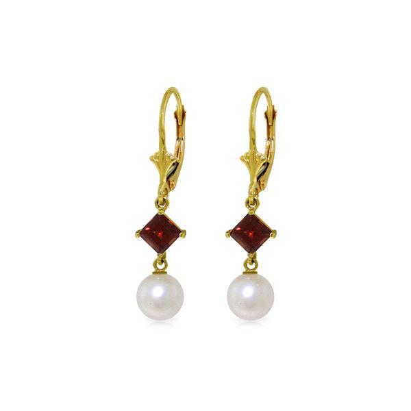 Genuine 5 ctw Pearl & Garnet Earrings 14KT Yellow Gold - REF-29F7Z