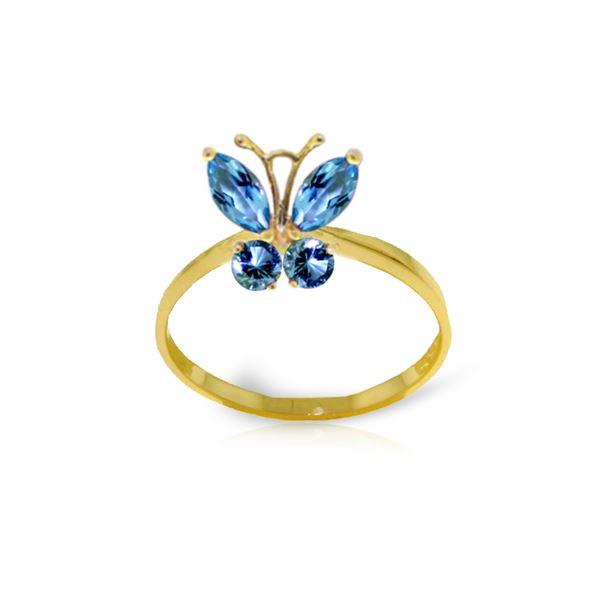 Genuine 0.60 ctw Blue Topaz Ring 14KT Yellow Gold - REF-28M9T