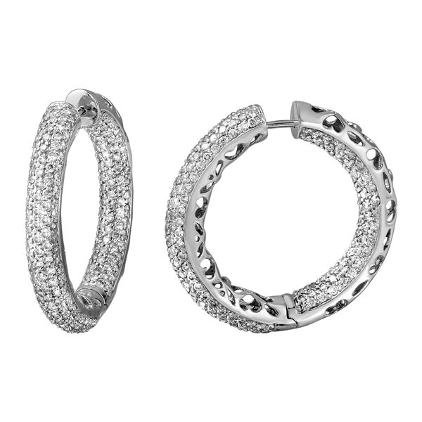 Natural 5.70 CTW Diamond Earrings 14K White Gold - REF-431N3Y