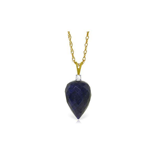 Genuine 12.95 ctw Sapphire & Diamond Necklace 14KT Yellow Gold - REF-27N3R