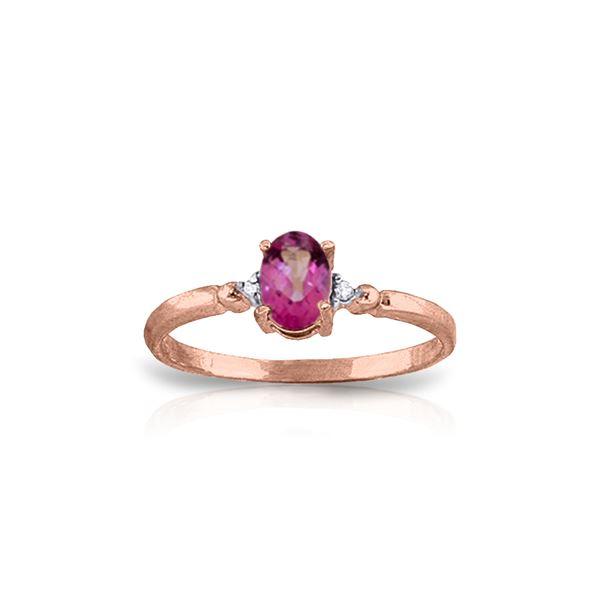 Genuine 0.46 ctw Pink Topaz & Diamond Ring 14KT Rose Gold - REF-27H3X