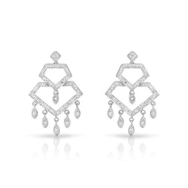 Natural 0.59 CTW Diamond Earrings 18K White Gold - REF-102K6R