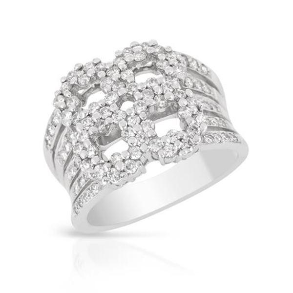 Natural 1.15 CTW Diamond Ring 18K White Gold - REF-216K2R