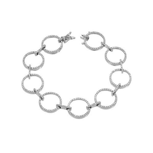 Natural 2.16 CTW Diamond & Bracelet 18K White Gold - REF-333K9R