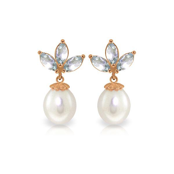 Genuine 9.5 ctw Aquamarine & Pearl Earrings 14KT Rose Gold - REF-32R9P