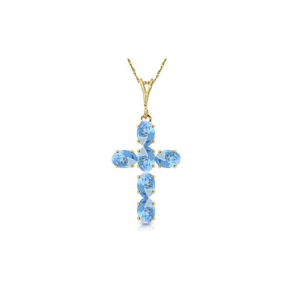 Genuine 1.50 ctw Blue Topaz Necklace 14KT Yellow Gold - REF-32H8X