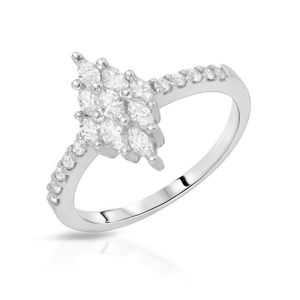 Natural 0.61 CTW Marquise & Diamond Ring 14K White Gold - REF-74W7H