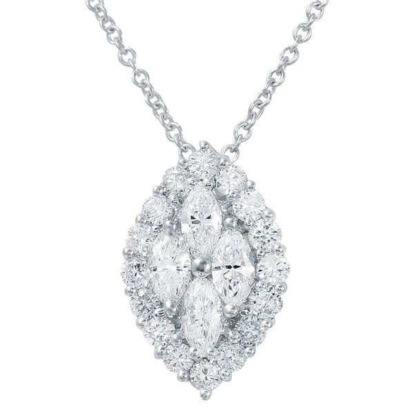 Natural 0.73 CTW Marquise & Diamond Necklace 14K White Gold - REF-98F3M