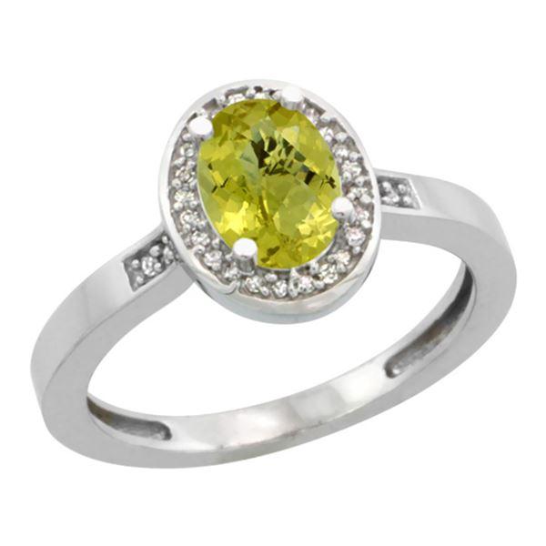 1.15 CTW Lemon Quartz & Diamond Ring 14K White Gold - REF-37X6M