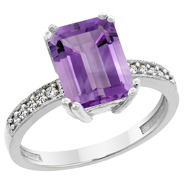 3.70 CTW Amethyst & Diamond Ring 14K White Gold - REF-40N3Y