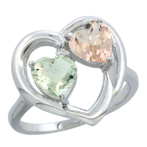 1.91 CTW Diamond, Amethyst & Morganite Ring 14K White Gold - REF-36X6M