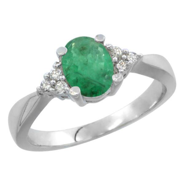 1.06 CTW Emerald & Diamond Ring 14K White Gold - REF-36K3W