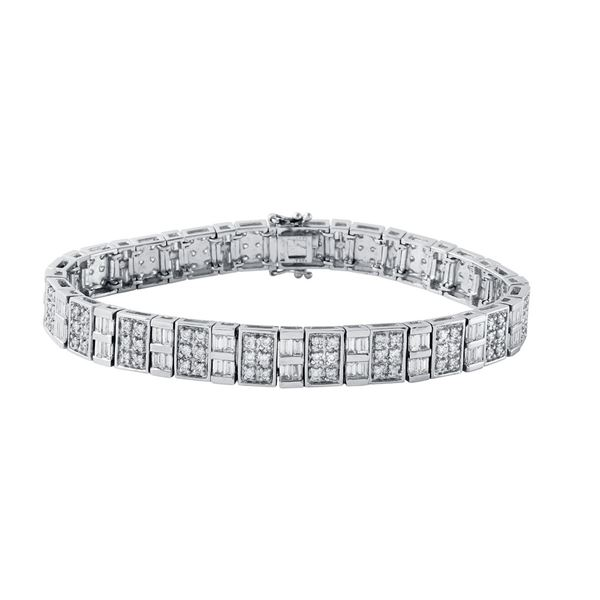 Natural 4.71 CTW Baguette & Diamond Bracelet 18K White Gold - REF-659N7Y