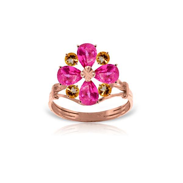 Genuine 2.43 ctw Pink Topaz & Citrine Ring 14KT Rose Gold - REF-48V9W