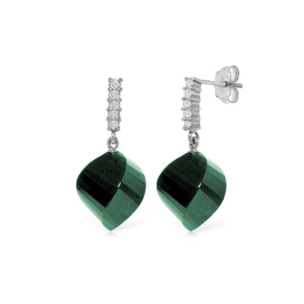 Genuine 30.65 ctw Green Sapphire Corundum & Diamond Earrings 14KT White Gold - REF-59W9Y