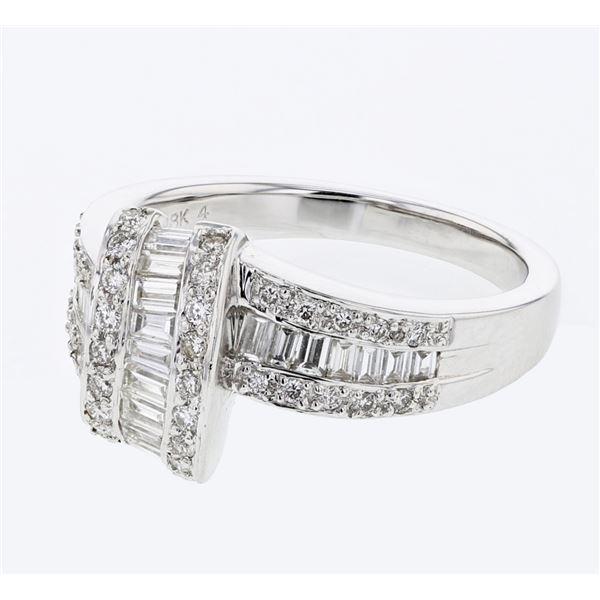 Natural 0.89 CTW Baguette & Diamond Ring 18K White Gold - REF-133K2R