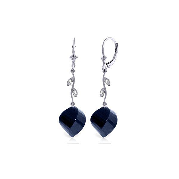 Genuine 30.52 ctw Sapphire & Diamond Earrings 14KT White Gold - REF-66K2V