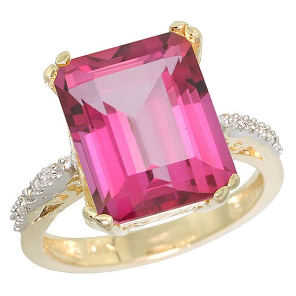 5.52 CTW Pink Topaz & Diamond Ring 14K Yellow Gold - REF-54Y4V
