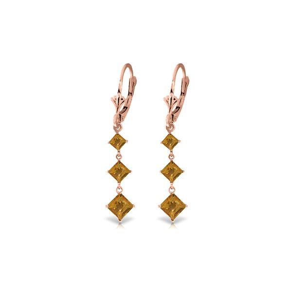 Genuine 4.79 ctw Citrine Earrings 14KT Rose Gold - REF-50Z2N