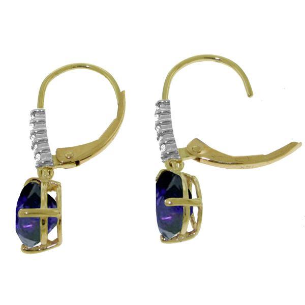 Genuine 3.15 ctw Sapphire & Diamond Earrings 14KT Rose Gold - REF-52Y3F