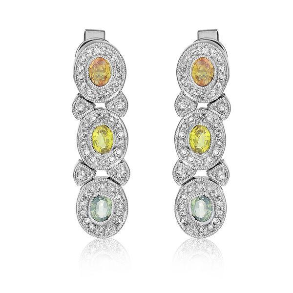 Natural 1.93 CTW Multi-Sapphire & Diamond Earrings 14K White Gold - REF-83F7M