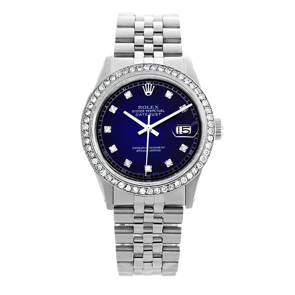 Rolex Pre-owned 36mm Mens Blue Vignette Stainless Steel