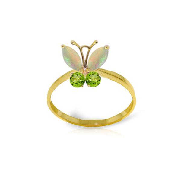 Genuine 0.70 ctw Opal & Peridot Ring 14KT Yellow Gold - REF-30H3X