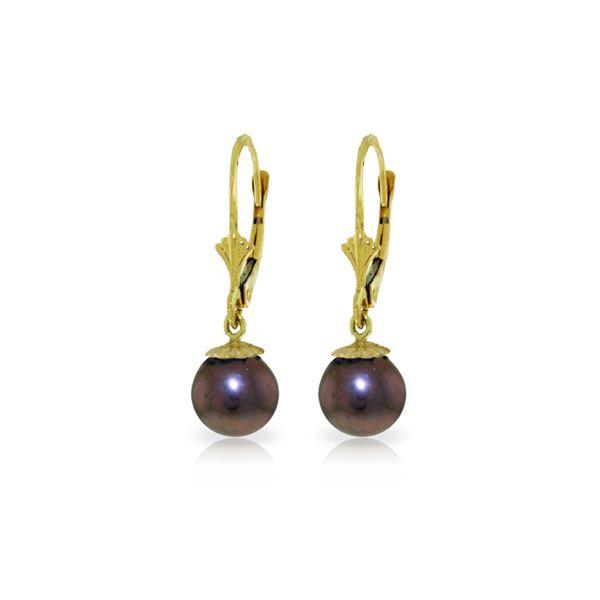 Genuine 4 ctw Black Pearl Earrings 14KT White Gold - REF-20Z7N