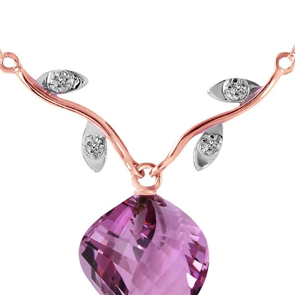 Genuine 10.77 ctw Amethyst & Diamond Necklace 14KT Rose Gold - REF-40P5H