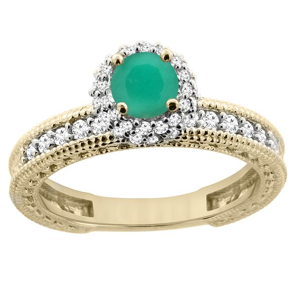 0.86 CTW Emerald & Diamond Ring 14K Yellow Gold - REF-67H2M