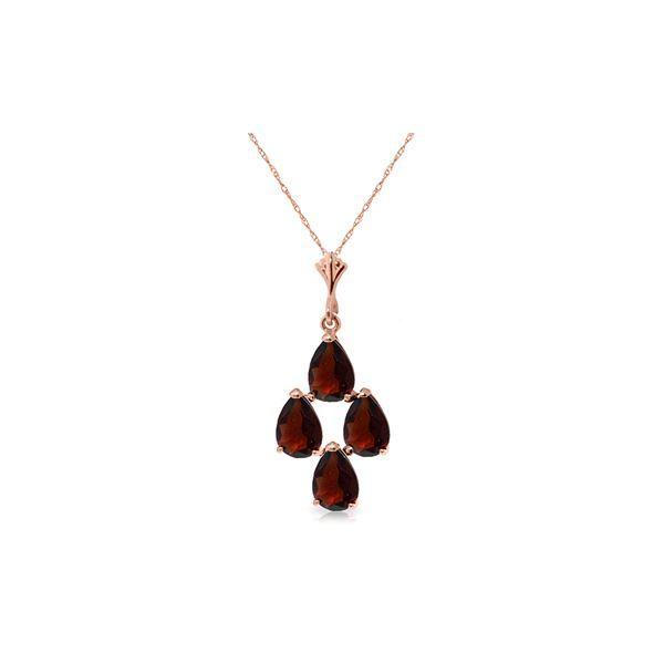 Genuine 1.50 ctw Garnet Necklace 14KT Rose Gold - REF-20N4R