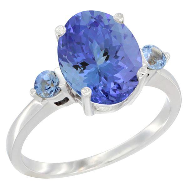 2.63 CTW Tanzanite & Blue Sapphire Ring 14K White Gold - REF-63F7N