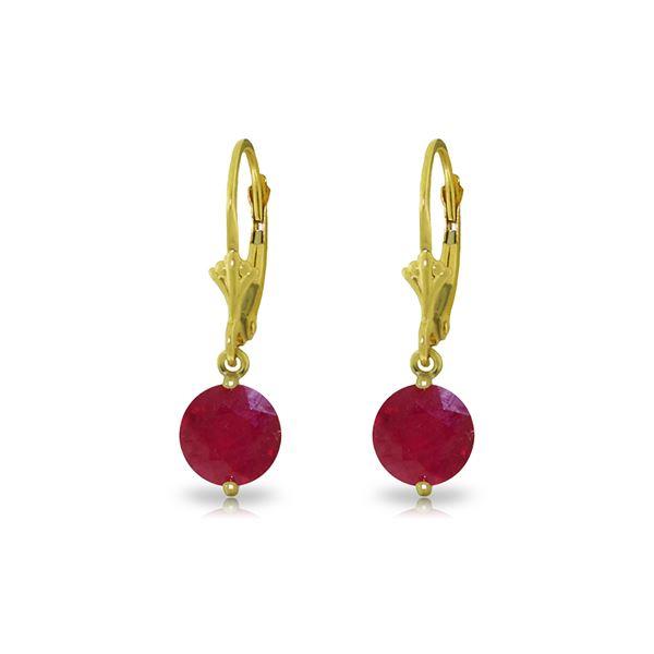 Genuine 4 ctw Ruby Earrings 14KT Yellow Gold - REF-45F8Z