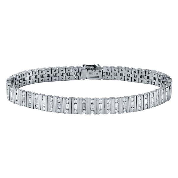 Natural 3.64 CTW Diamond & Baguette Bracelet 18K White Gold - REF-520F2M