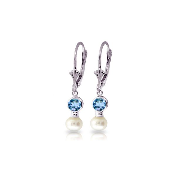 Genuine 5.2 ctw Blue Topaz & Pearl Earrings 14KT White Gold - REF-35T9A